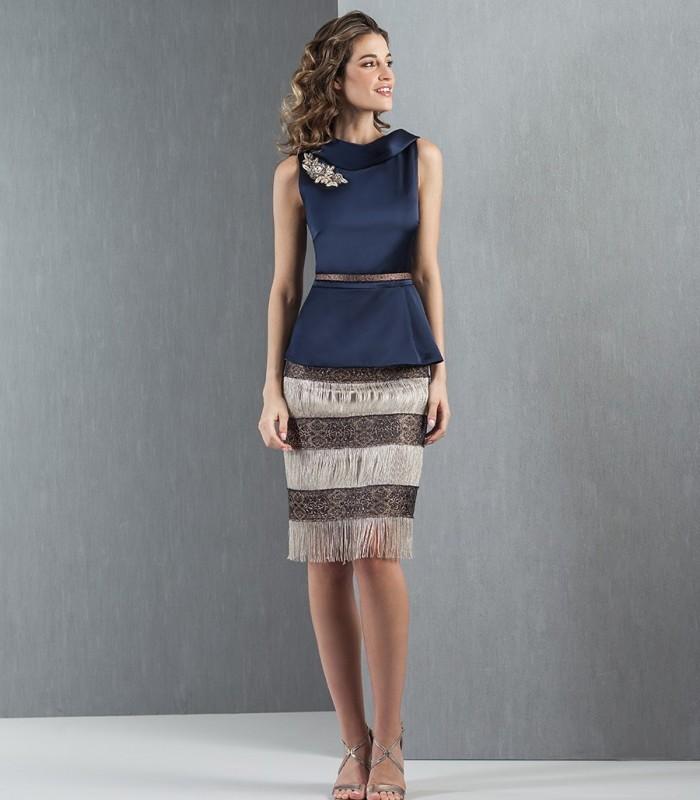 Navy top and fringe skirt set