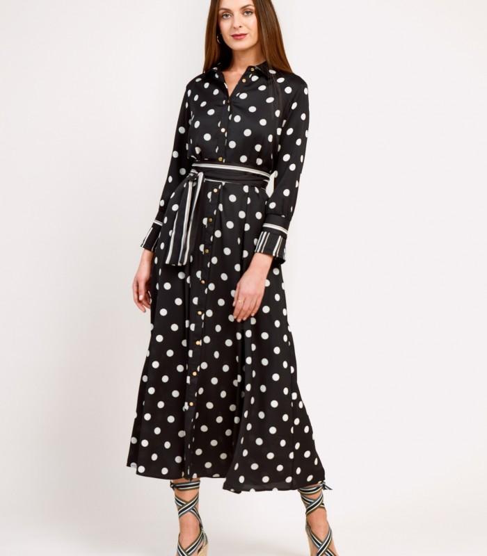 Long polka dot and striped shirt dress