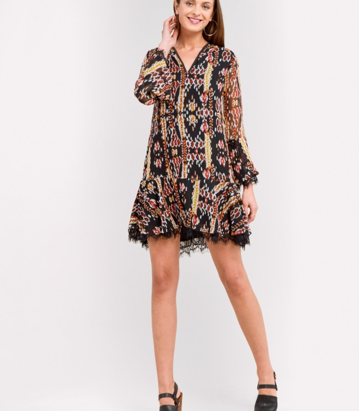 Printed dress with evasé cut