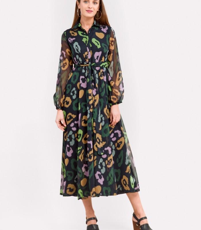 Colorful print shirtwaist midi dress