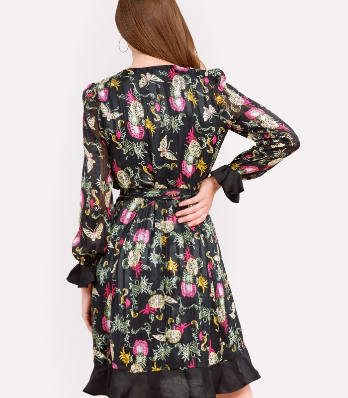 Long-sleeved printed dress with crossover cut