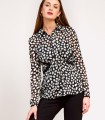 Black and white button blouse