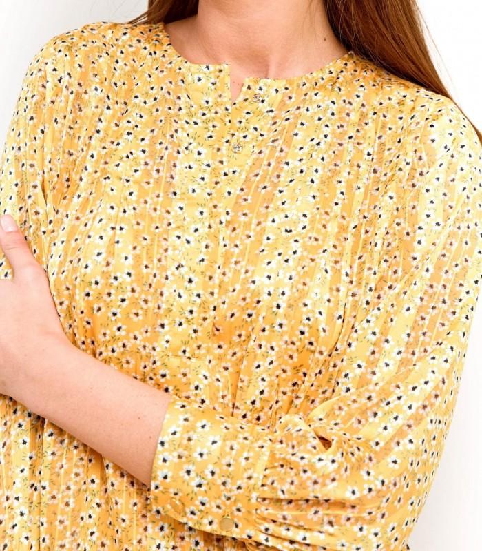 Yellow satin printed blouse