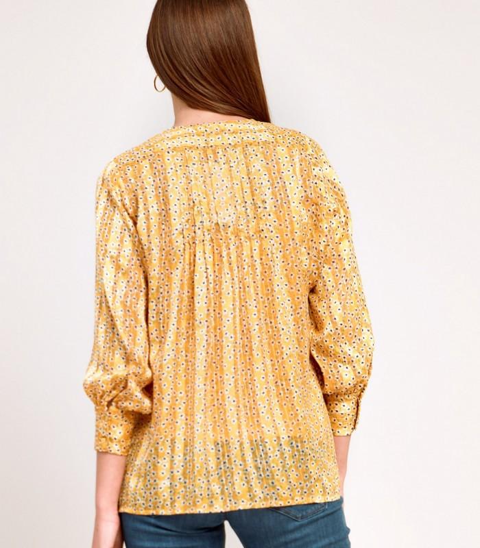 Blusa estampada satinada amarilla