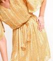Vestido corto satinado de rayas amarillo