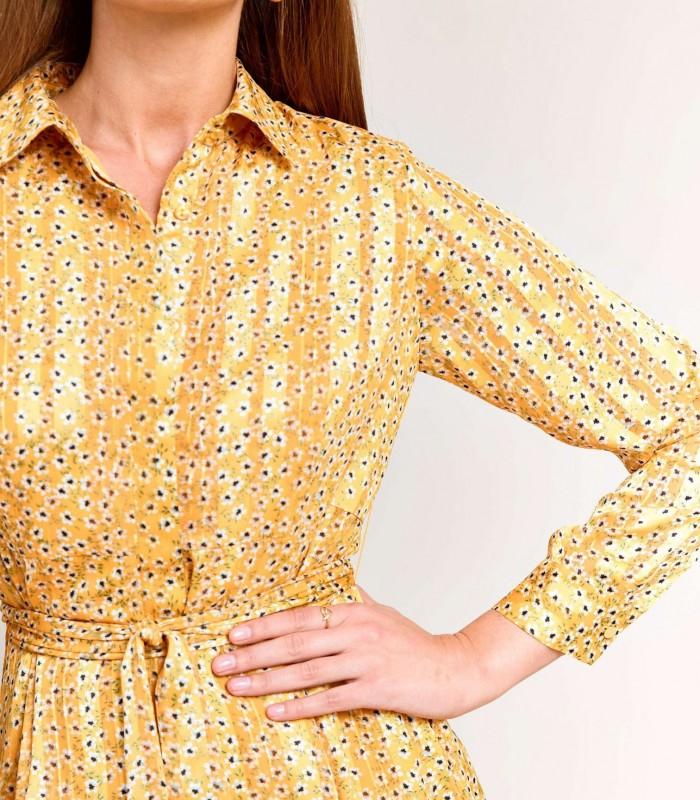 Yellow satin print midi dress