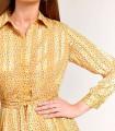 Vestido midi estampado satinado amarillo