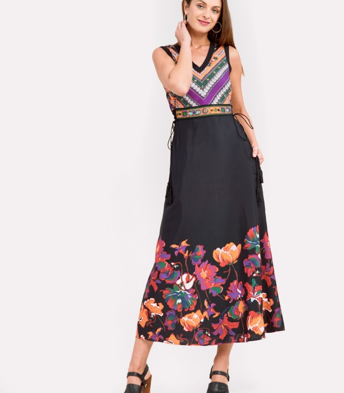 Long dress with two prints with side pockets