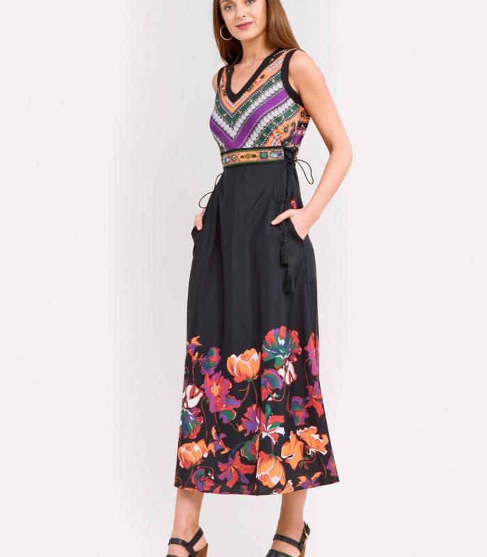 Vestido largo dos estampados con bolsillos laterales