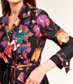 Short printed dress in gabardine style