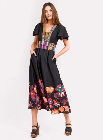 Vestido midi con adornos y bordado