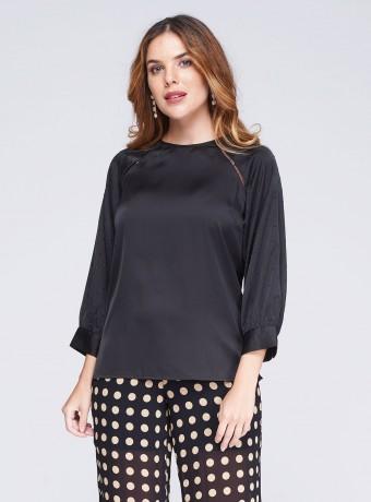 Black Swarovski sleeve blouse