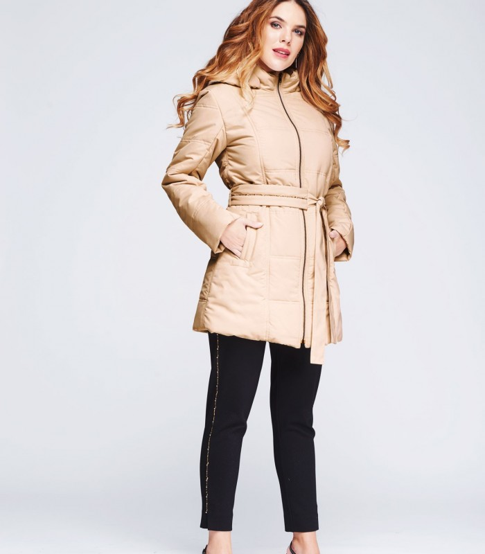 Parka with rhinestones belt