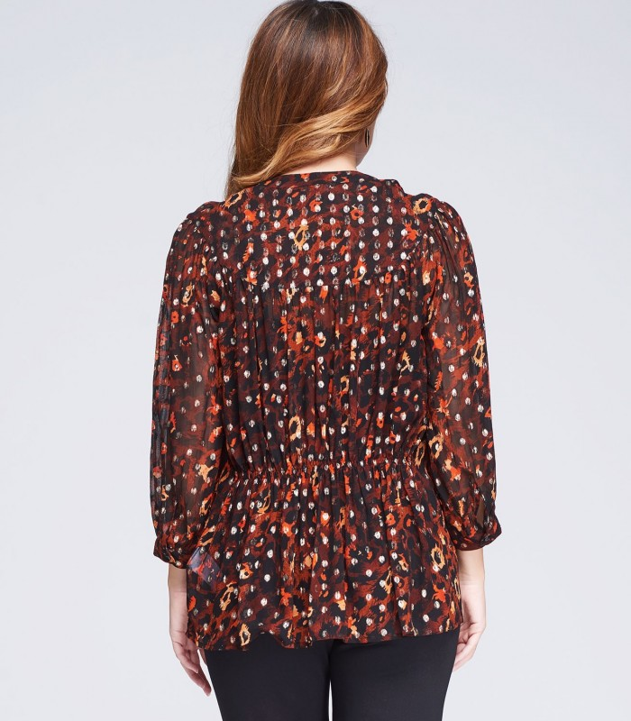 Printed blouse with tassels
