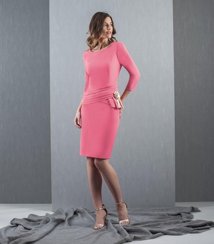 French short sleeve fuchsia dress