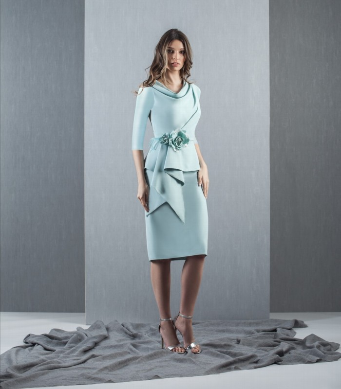 Asymmetric Ruffle Short Fog Dress
