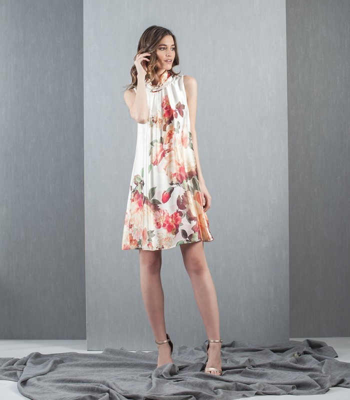 Ivory flower print short dress