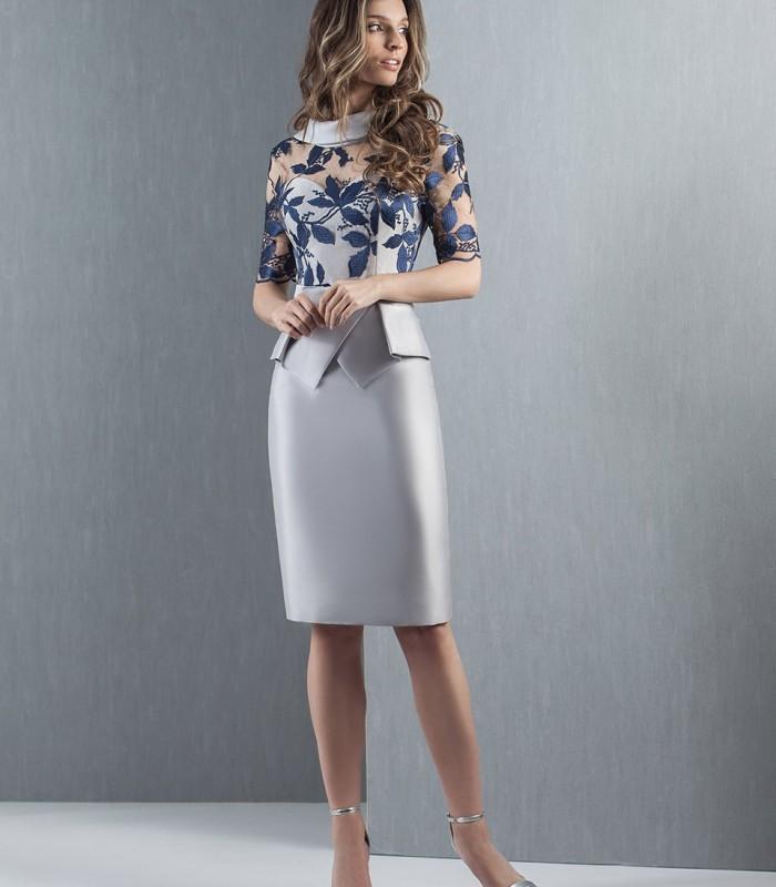 Vestido corto peplum gris y marino