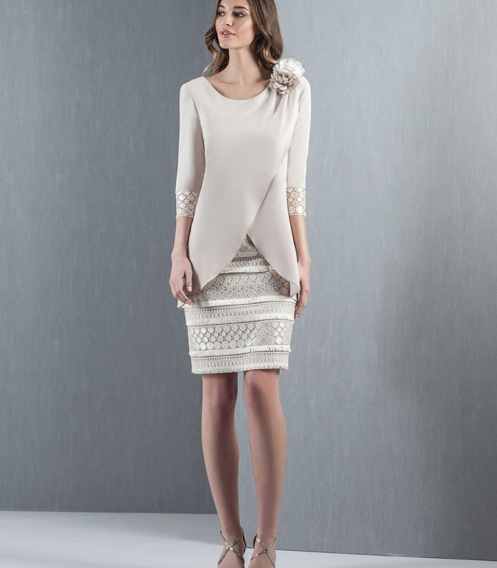 Short sand dress with cuff detail