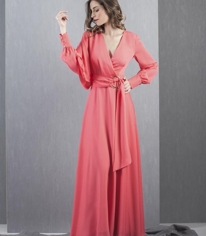 Red long sleeve long dress