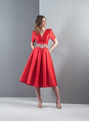 Vestido rojop midi de vuelo