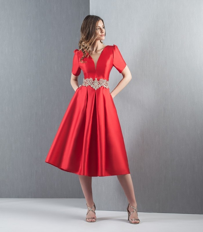 Red midi flight dress