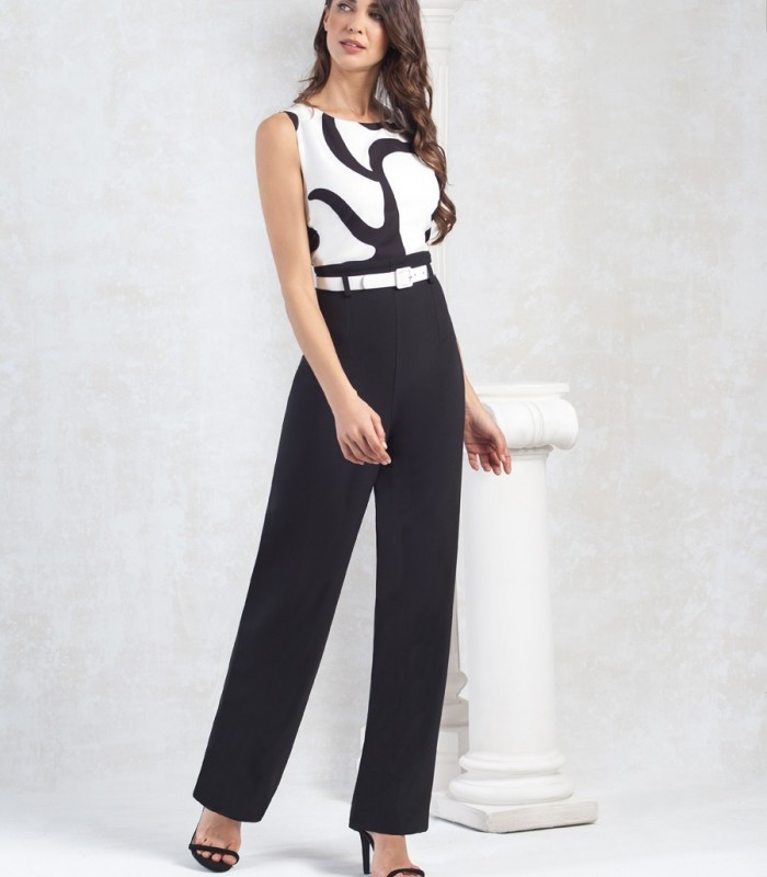 Black and white sleeveless long jumpsuit