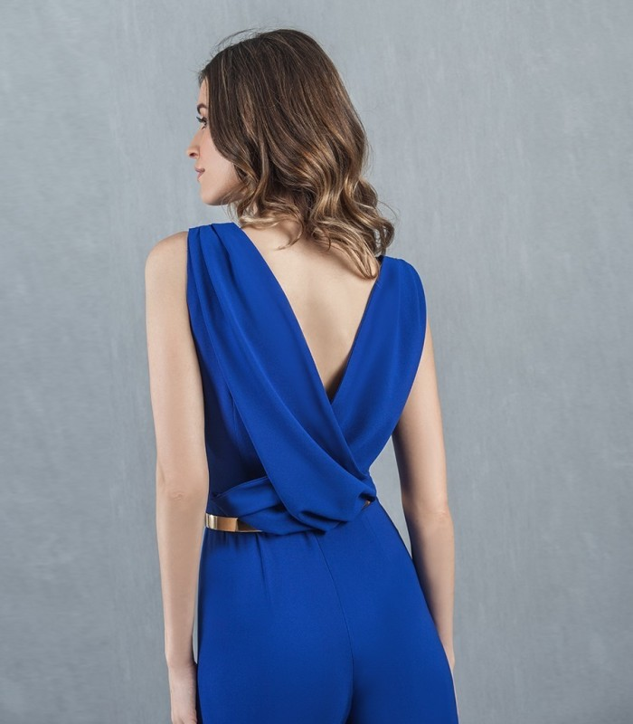 Blue round neck long jumpsuit