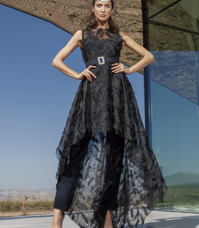 Black long jumpsuit with overskirt