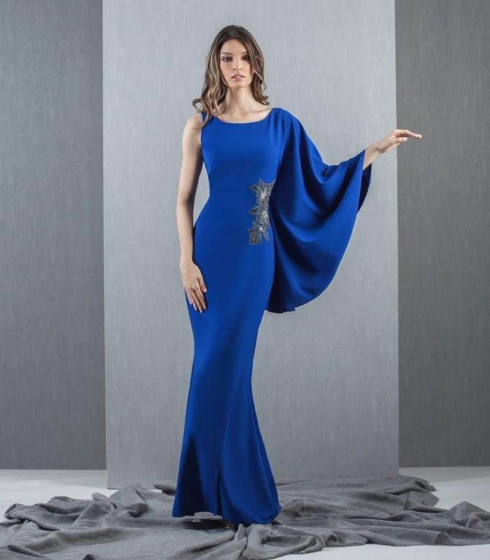 blue asymmetric sleeve maxi dress