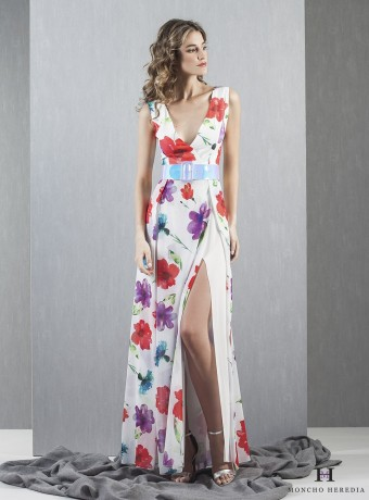 vestido largo estampado abertura lateral