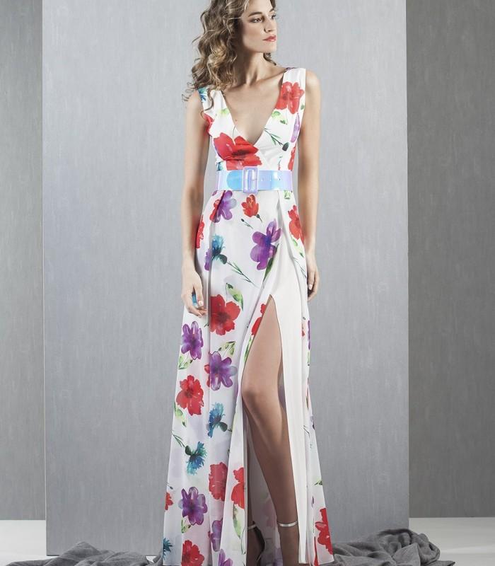 side slit printed maxi dress