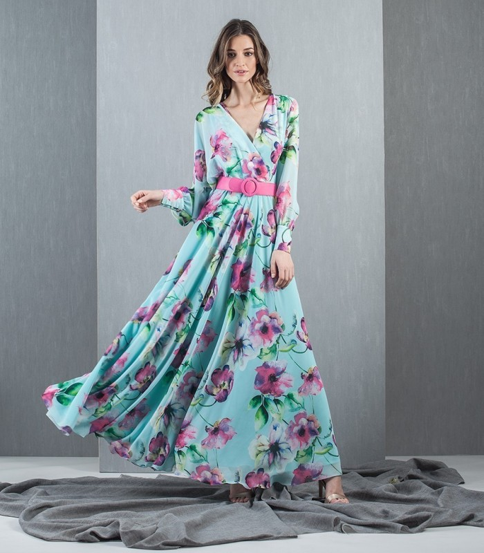 vestido largo estampado manga larga MH