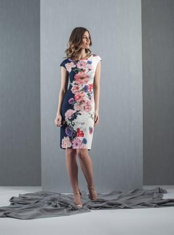 vestido corto estampado manga corta