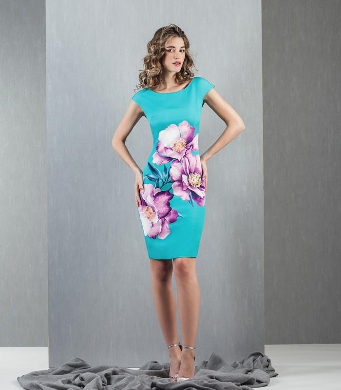 vestido corto turquesa estampado