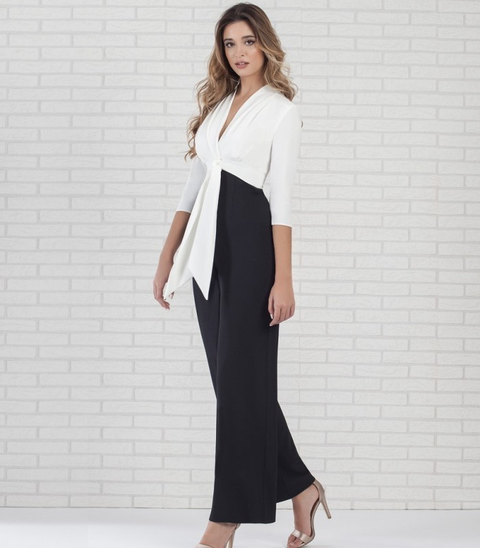 Two-tone jumpsuit lake french sleeve
