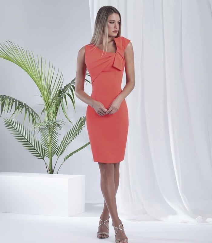 V-neck sleeveless bodycon dress with pleat trim over left shoulder