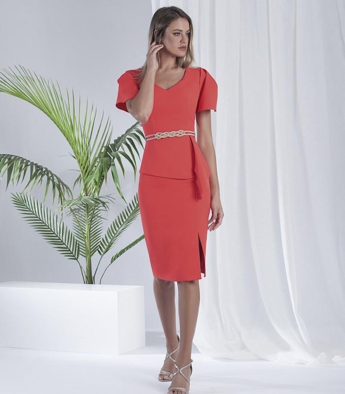 Plain midi dress with loose sleeves, U-neckline