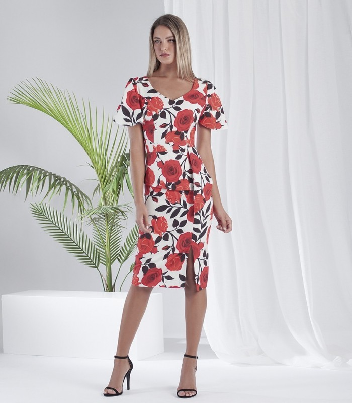 Floral print midi dress with ruffle sleeves