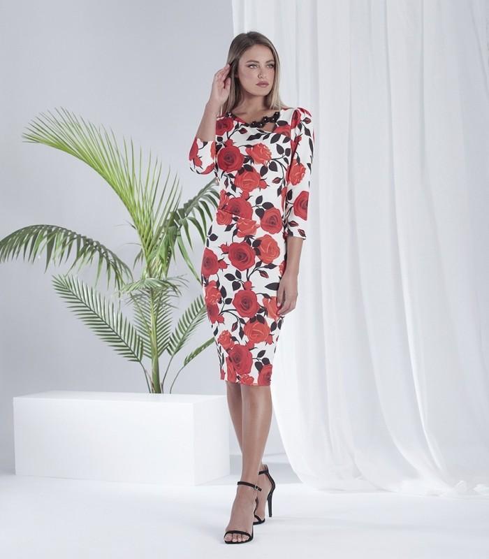 Floral print dress with asymmetric neckline