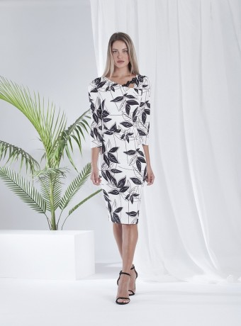 Floral print midi dress with asymmetric neckline with embroidery