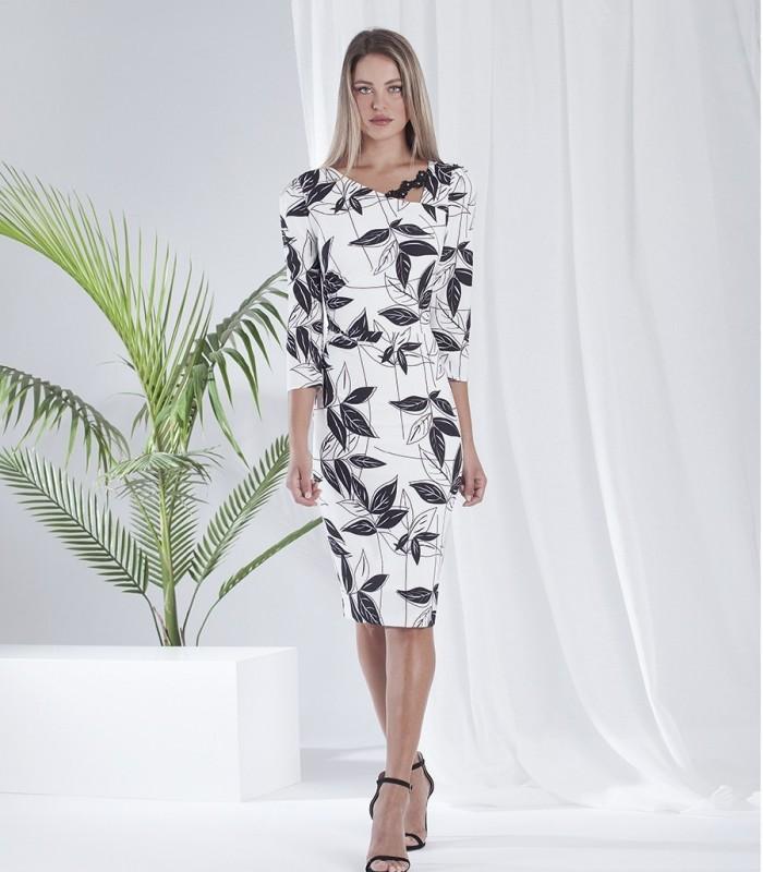 Vestido midi estampado floral y escote asimétrico con bordado