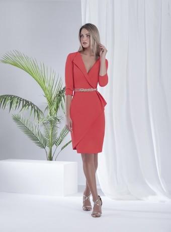 Plain short dress with wrap neckline and lapel
