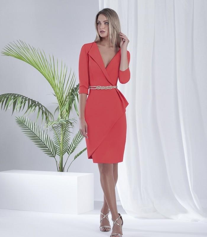 Vestido liso corto con escote cruzado y solapa