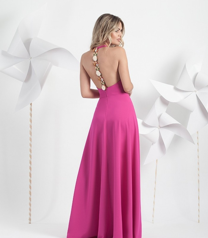 Vestido espalda descubierta y tira de flores