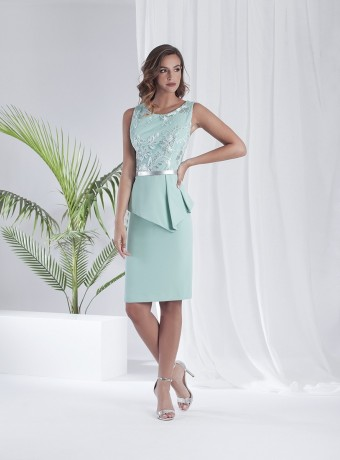 Aqua green dress with lace on top