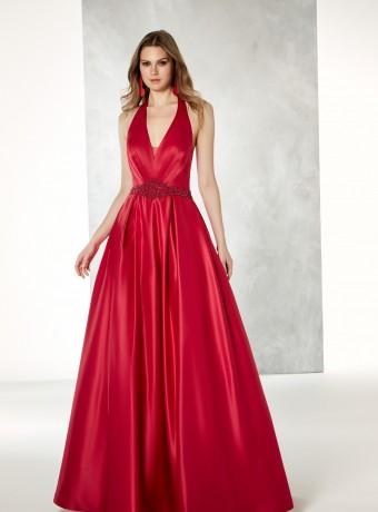 Vestido largo rojo de escote profundo