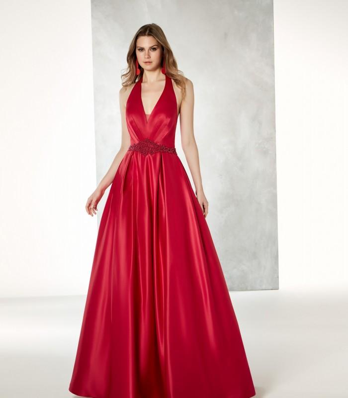 Red deep neckline maxi dress