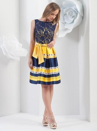 Vestido corto de rayas azul y amarillo