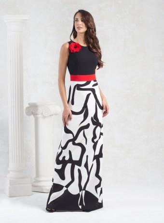 Vstido largo blanco y negro con cinturón rojo